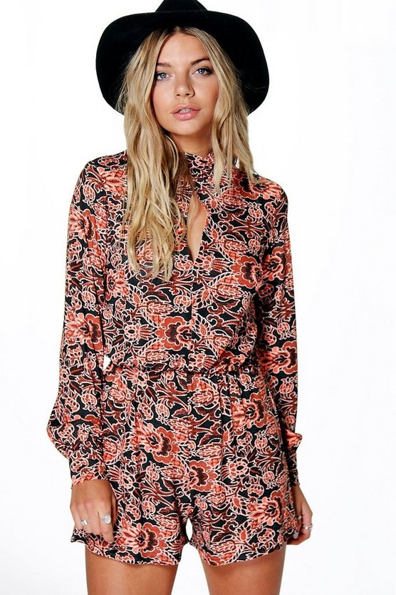 Multi Boho Print Balloon Sleeve Playsuit