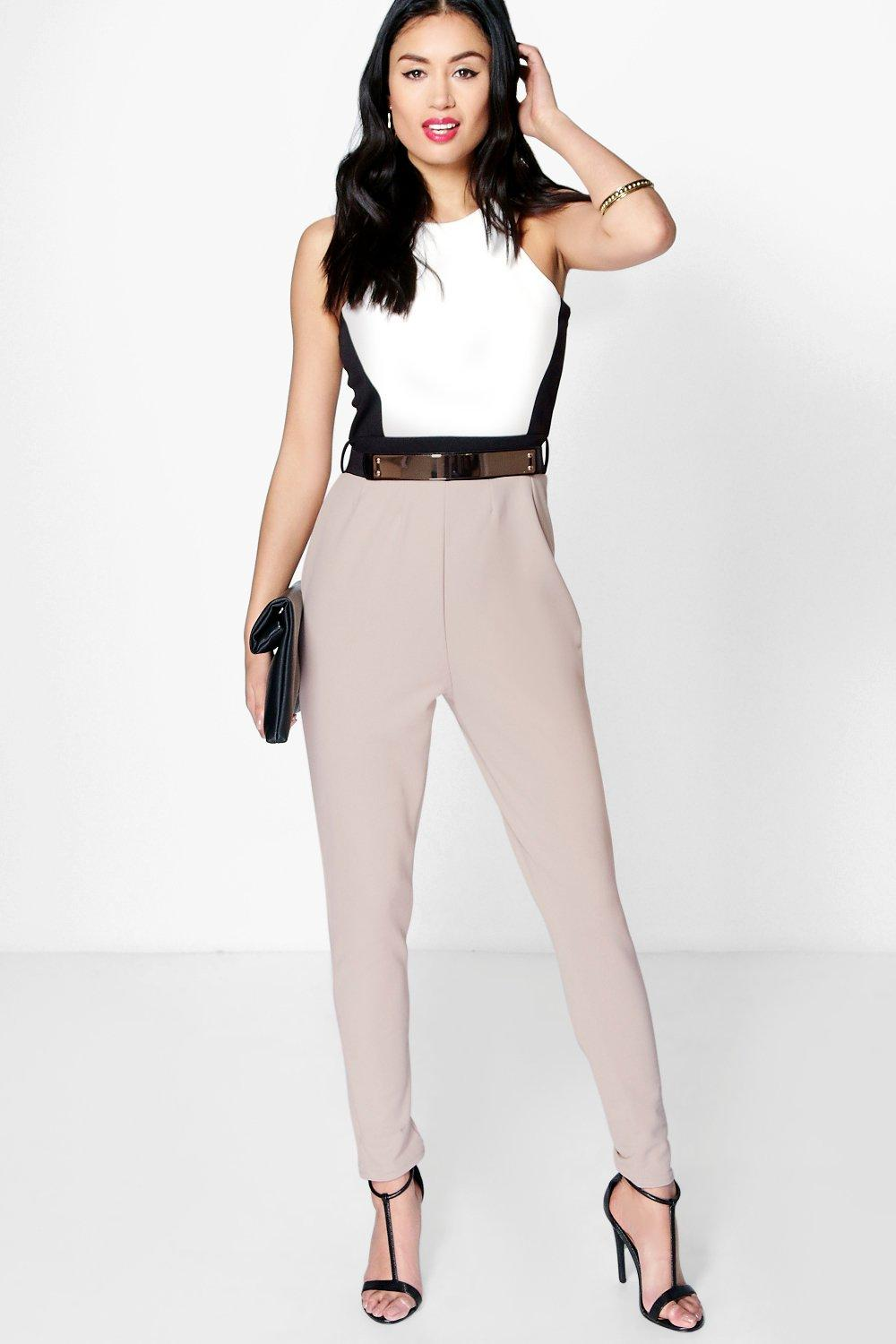dc406385ad51 Anna Colour Block Belted Jumpsuit. Hover to zoom
