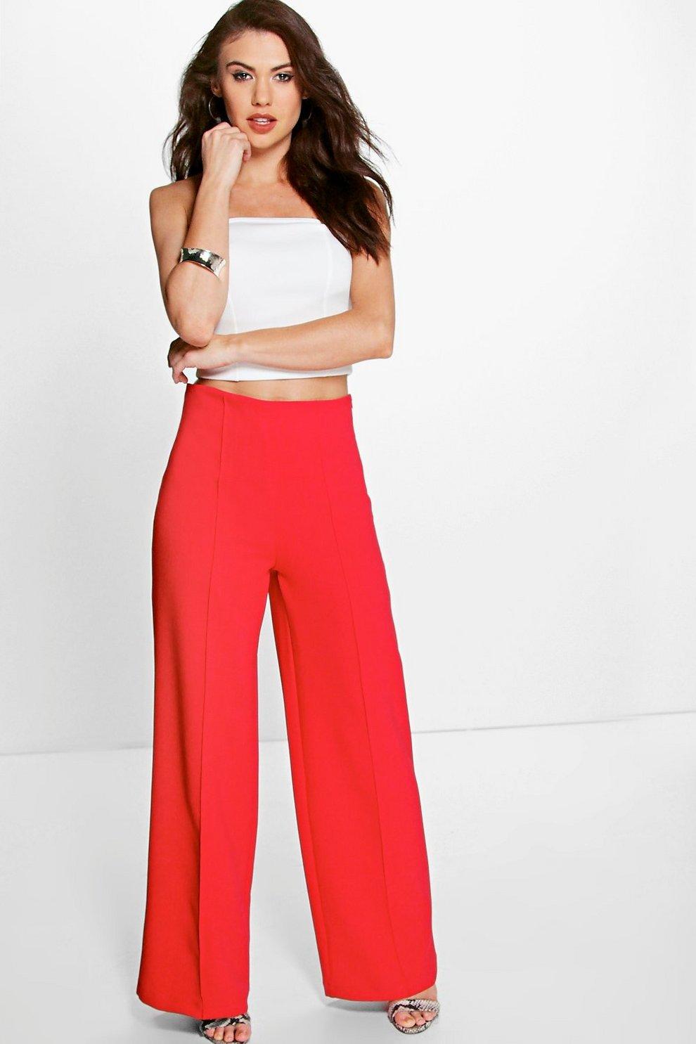 f1cc3f7e5482 Womens Poppy Isabel High Waist Pin Tuck Kick Flare Trousers