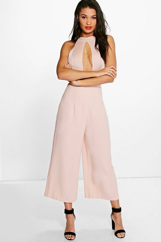 Womens Blush Tiana Wide Leg Cropped Tailored Trousers