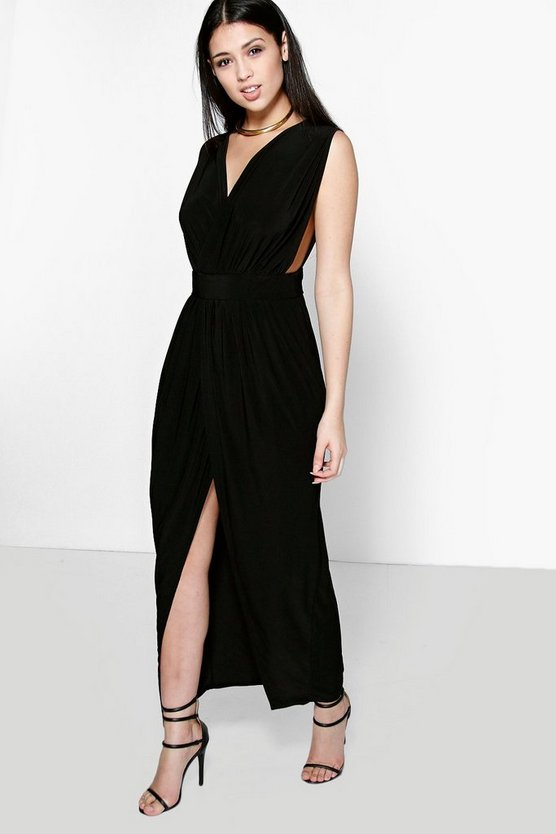 Black Blair Wrap Front Plunge Neck Maxi Dress
