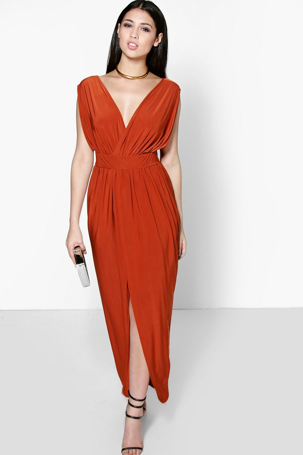 9f1beafd4f3 Blair Wrap Front Plunge Neck Maxi Dress