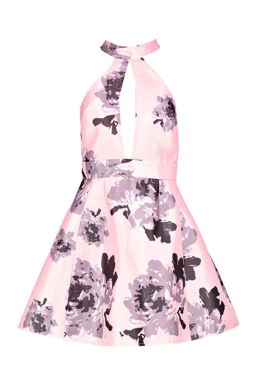 Boohoo-Vestido-Skater-Floral-De-Saten-Con-Cuello-Alto-Sarah-para-Mujer