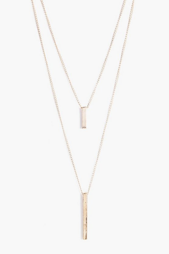 Womens Gold Double Bar Layered Necklace