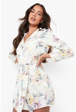 Womens Cream Floral Shirt Dress