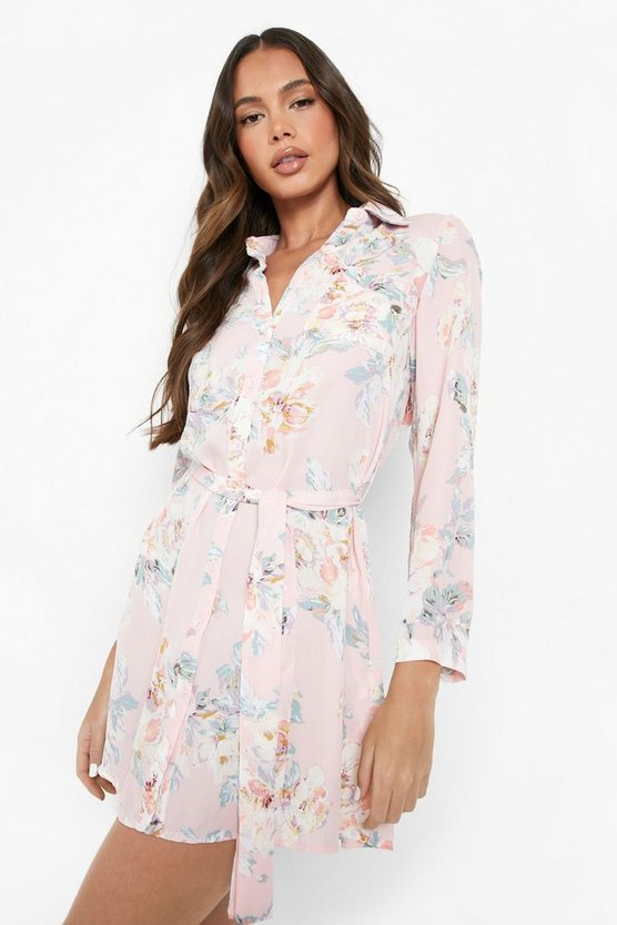 Womens Pink Floral Shirt Dress