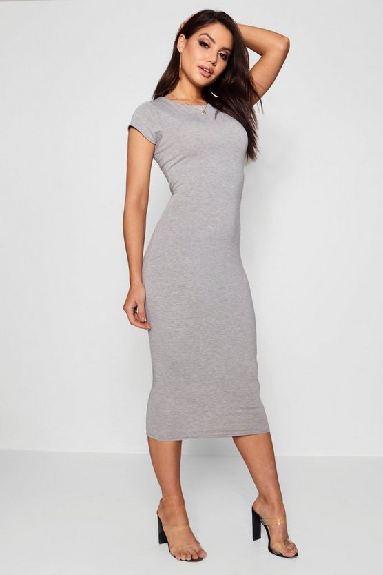 Womens Cap Sleeve Jersey Bodycon Midi Dress