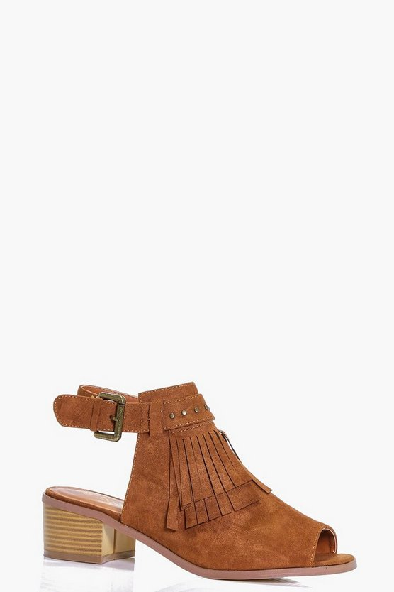 Womens Nina Fringe And Stud Peeptoe Shoeboot