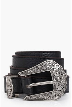 Womens Black Western Buckle Boyfriend Belt