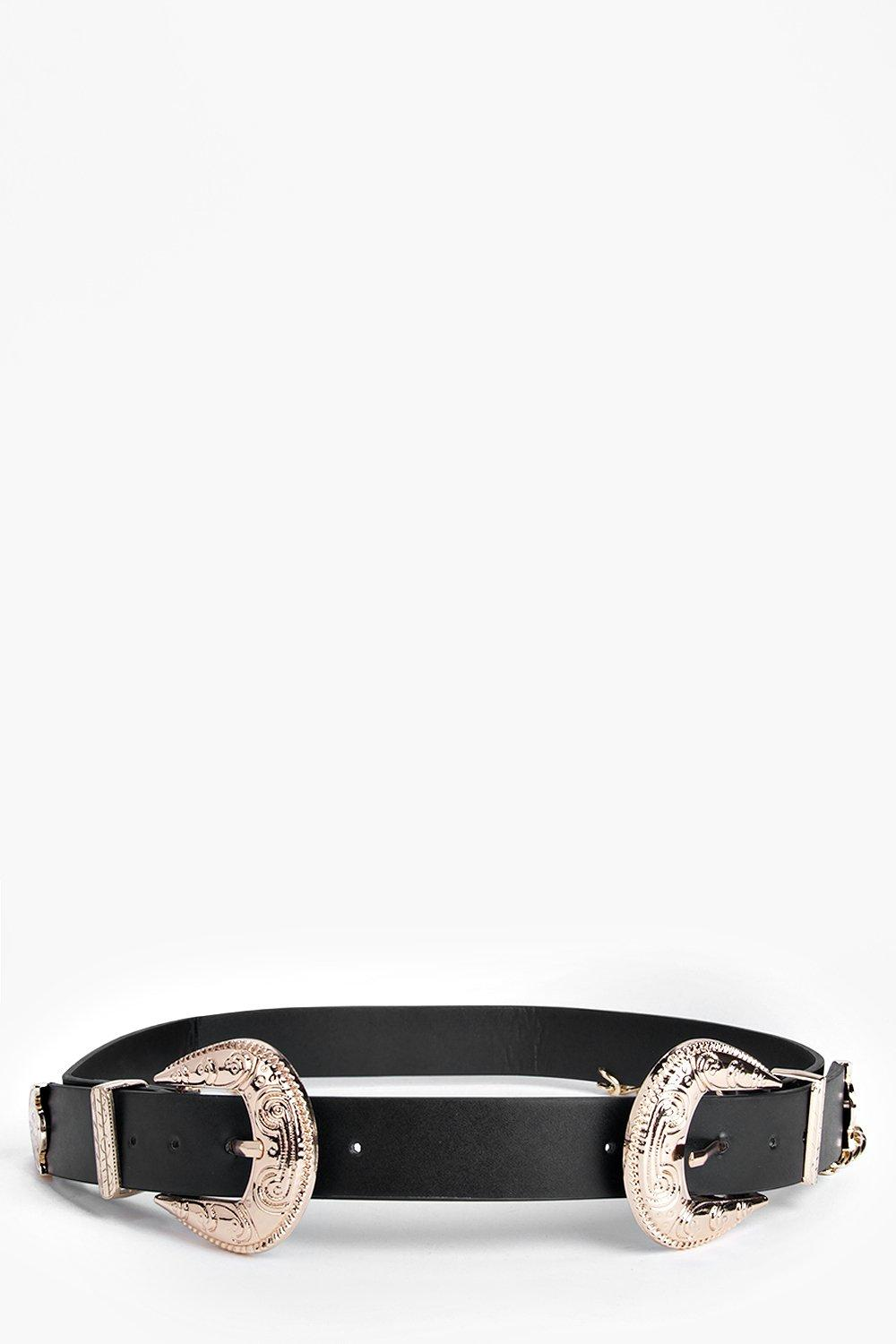f1ad0900e Womens Black Lois Chain Double Buckle Western Belt. Hover to zoom