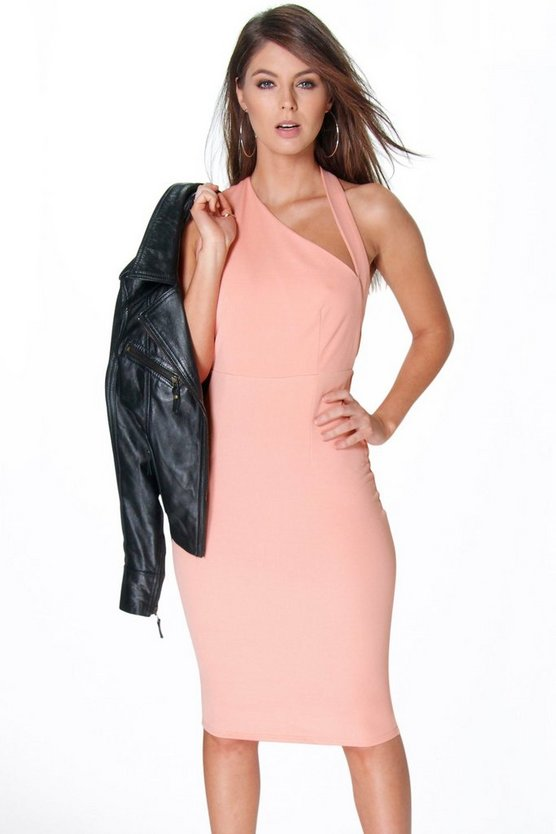 Regina Shoulder Cut Out Detail Midi Bodycon Dress