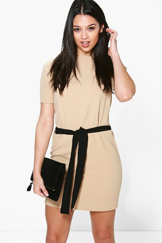 Womens Sand Cassie Tie Waist Woven Shift Dress