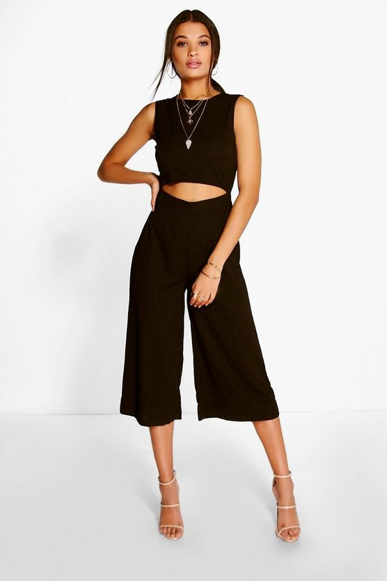 Womens Cut Front Culotte Jumpsuit