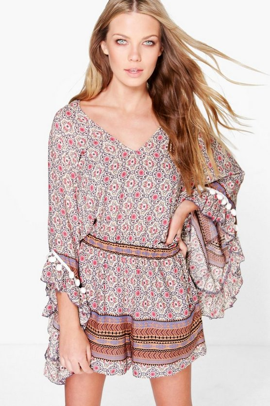 Womens Multi Zarah Tassel Sleeve Bohemian Playsuit