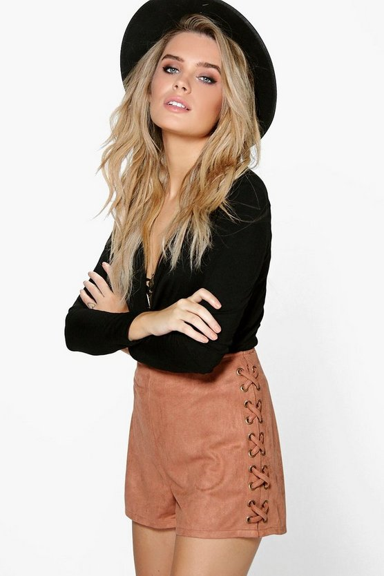 Lace Up Side Faux Suede Shorts