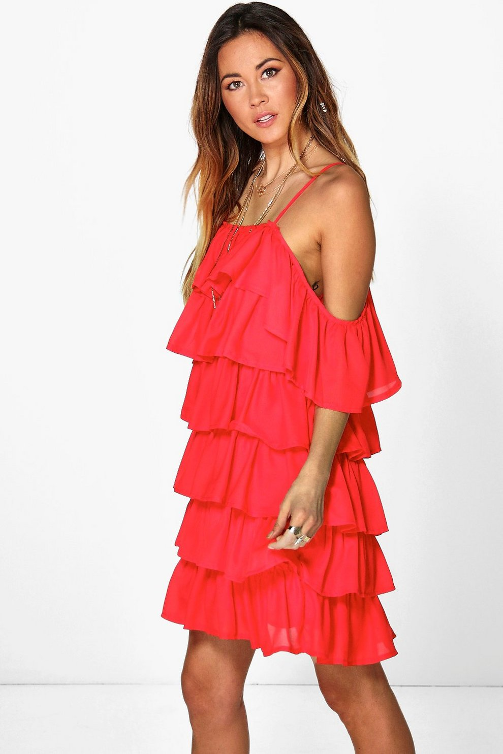 c28ccec8bbd62 Rosie Ruffle Cold Shoulder Strappy Dress