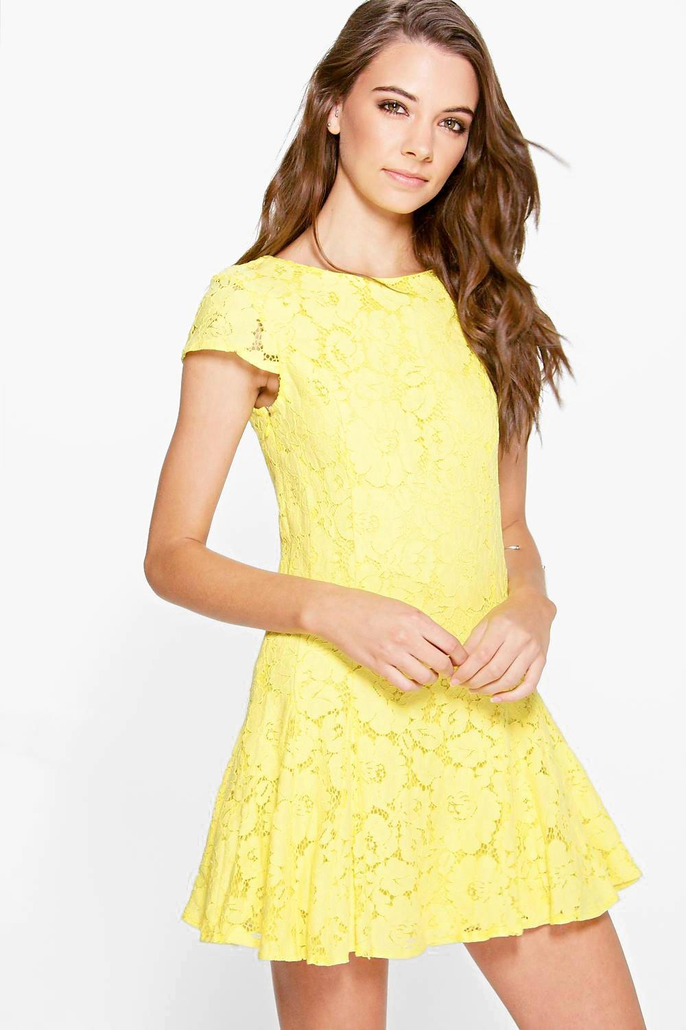0ae2cb057cab Shoptagr | Boutique Sia Lace Godet Skirt Lace Up Back Dress by Boohoo