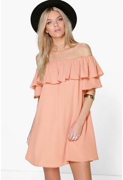 Womens Blush Sophie Ruffle Off Shoulder Woven Dress