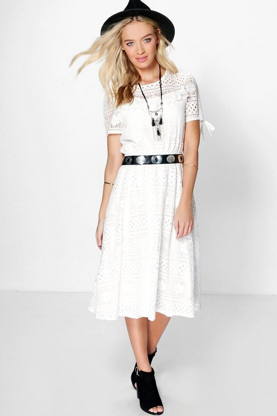 Tisha Tie Sleeve Corded Lace Midi Dress