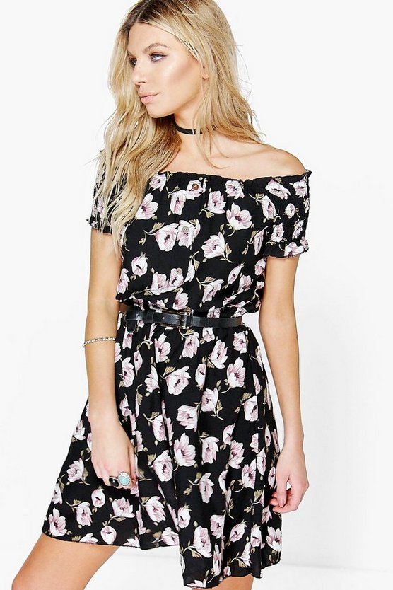 Indra Floral Off The Shoulder Woven Dress