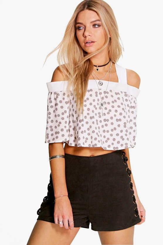 Rose Ditsy Floral Off The Shoulder Flounce Crop Top