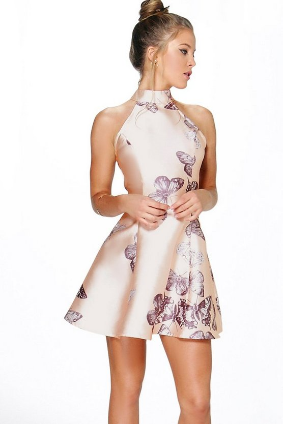 Womens Blush Sateen Butterfly Print Fit and Flare Dress