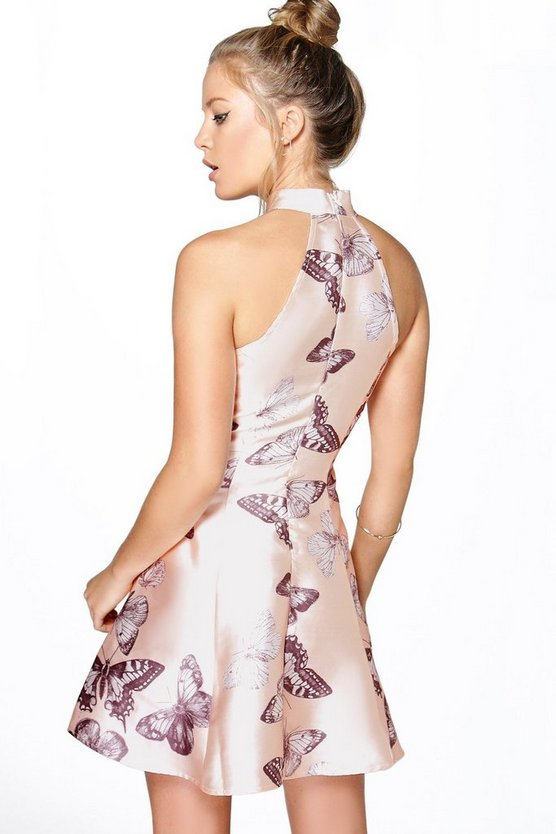 Sateen Butterfly Print Fit and Flare Dress