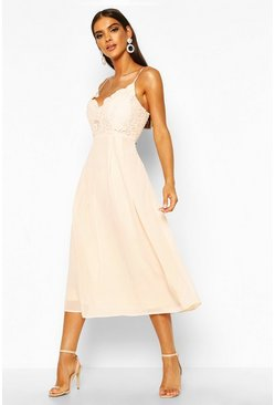 Blush Crochet Lace Strappy Chiffon Midi Bridesmaid Dress