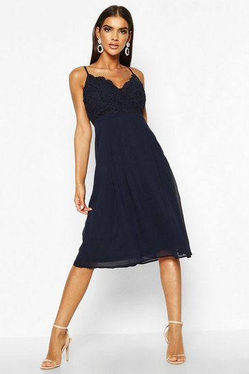 Navy Crochet Lace Strappy Chiffon Midi Bridesmaid Dress