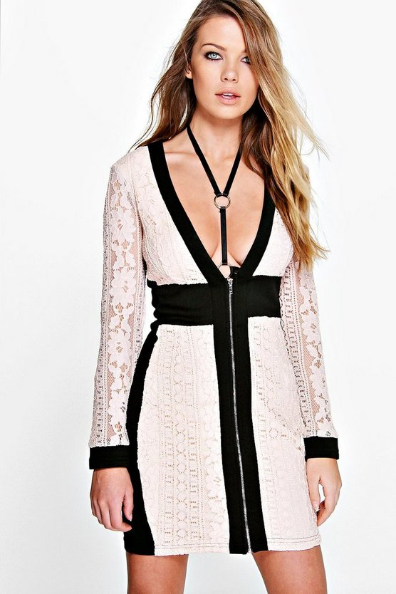 Womens Blush Maya Boutique Lace Panel Zip Detail Bodycon Dress