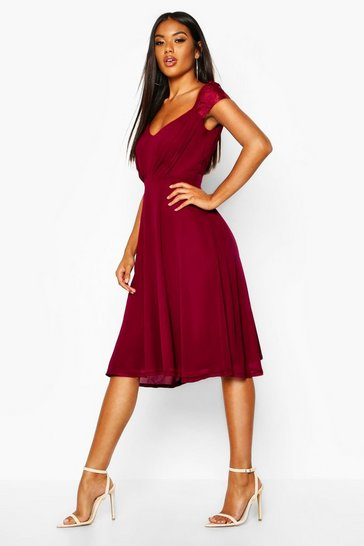 Berry Chiffon Lace Midi Skater Bridesmaid Dress