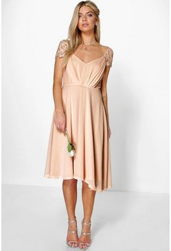 Womens Blush Eyelash Lace Sleeve Chiffon Midi Skater Dress