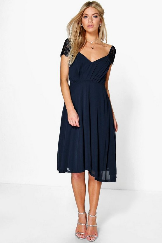Womens Navy Eyelash Lace Sleeve Chiffon Midi Skater Dress