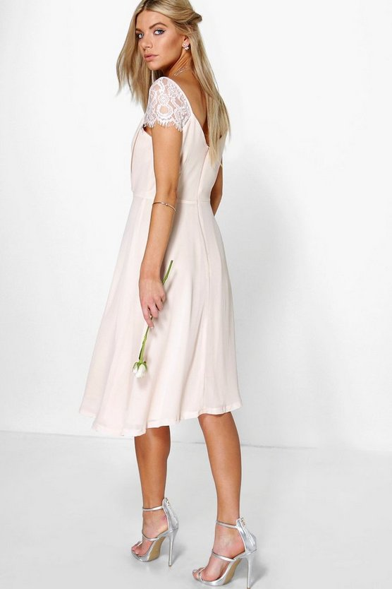 Eyelash Lace Sleeve Chiffon Midi Skater Dress