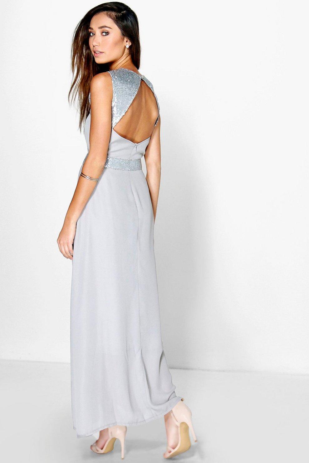 size 40 3c2f4 cfa42 lillianna abito lungo impreziosito con paillettes e schiena ...