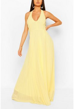 Lemon Chiffon Pleated Plunge Maxi Bridesmaid Dress