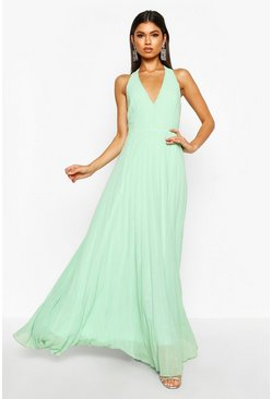 Womens Mint Chiffon Pleated Plunge Maxi Dress