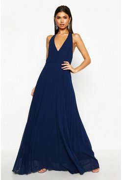 Womens Navy Chiffon Pleated Plunge Maxi Dress
