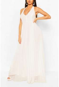 White Chiffon Pleated Plunge Maxi Bridesmaid Dress