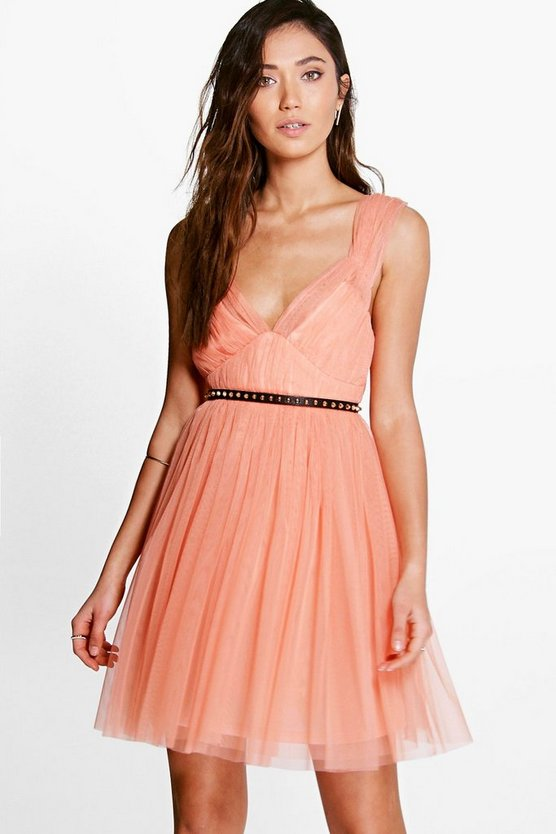 Boutique Sofie Seam Detail Tulle Skater Dress