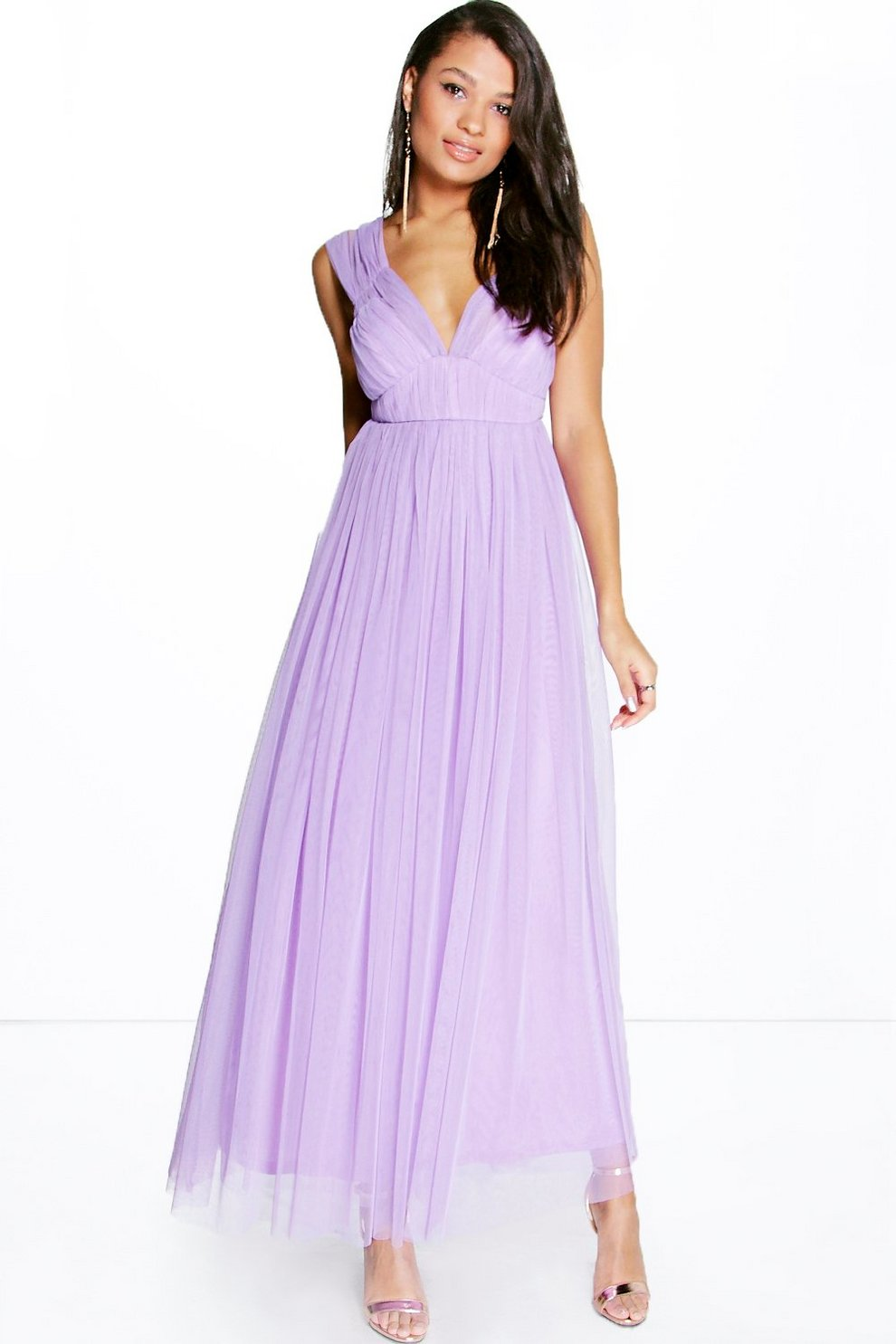 91f6596bf4d2c Boutique Anya Seam Detail Tulle Maxi Dress | Boohoo