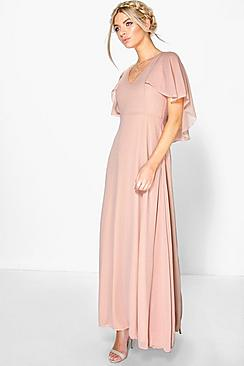 1900-1910s Clothing Chiffon Cape Detail Maxi Dress $60.00 AT vintagedancer.com