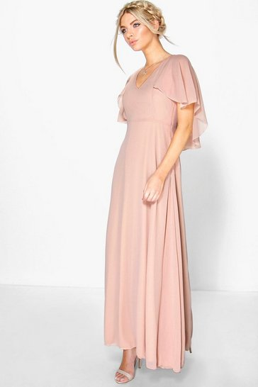 Blush Chiffon Cape Sleeve Maxi Bridesmaid Dress