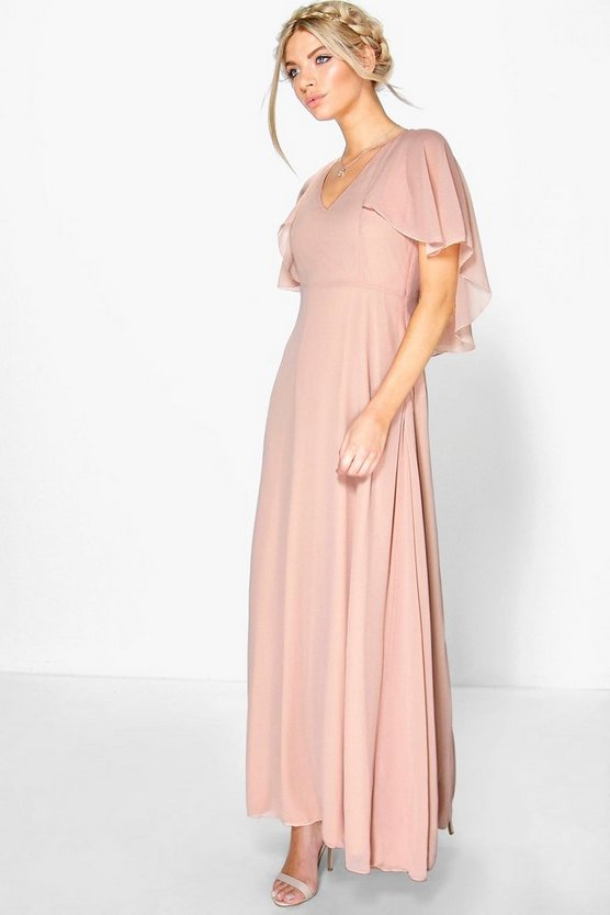 Womens Blush Chiffon Cape Detail Maxi Dress