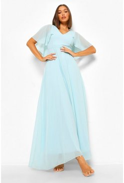 Mint Chiffon Cape Sleeve Maxi Bridesmaid Dress