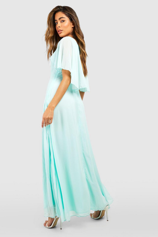 Boohoo Womens Hollie Chiffon Cape Detail Maxi Dress in ...