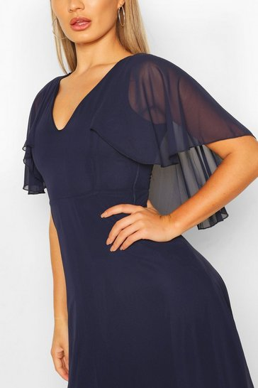 Navy Chiffon Cape Sleeve Maxi Bridesmaid Dress