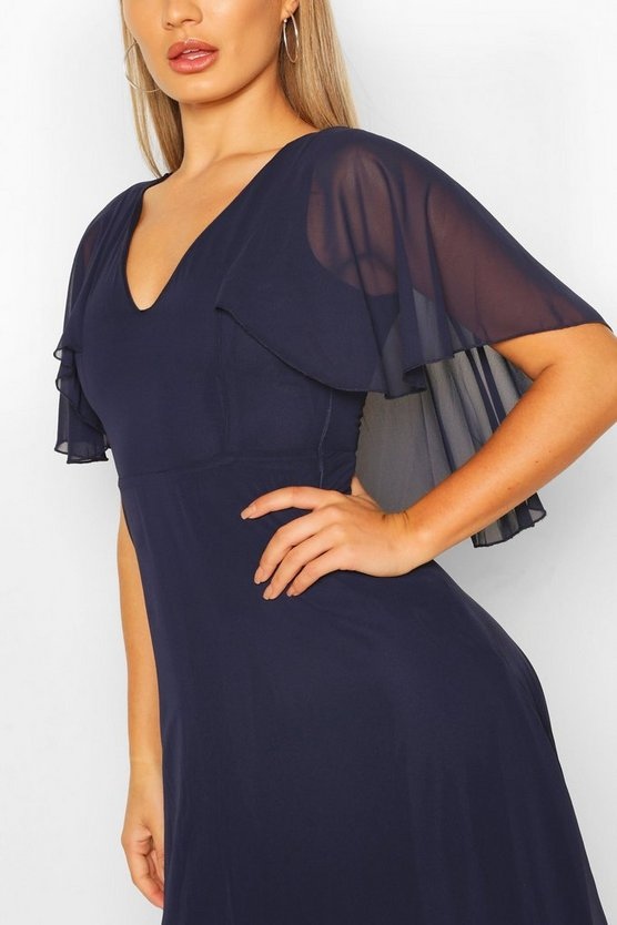 Womens Navy Chiffon Cape Detail Maxi Dress