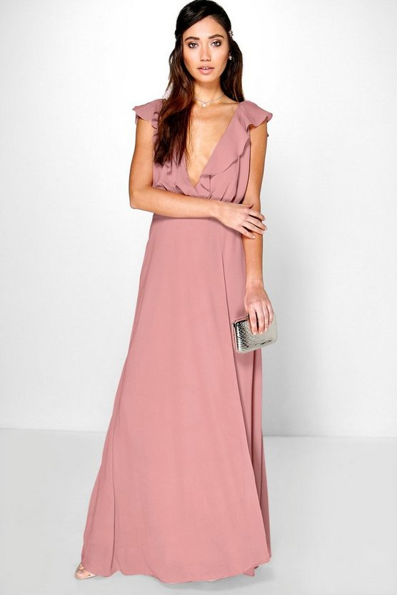 Frill Wrap Detail Chiffon Maxi Dress