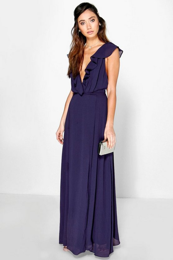 Womens Frill Wrap Detail Chiffon Maxi Dress
